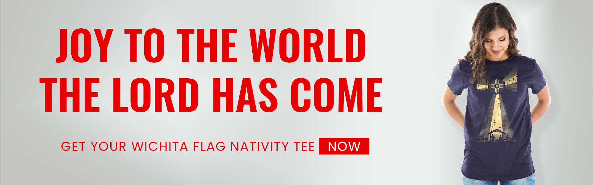 Joy to the world the Lord has come! Get your Wichita Flag Nativity Christmas T-shirt now.