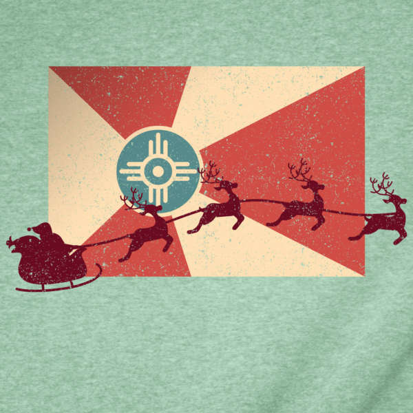 Santa's Sleigh Flying Across the Wichita Flag Christmas T-Shirt