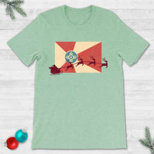 Santa's Sleigh Flying Across the Wichita Flag Christmas T-Shirt