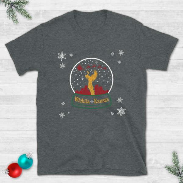 Keeper of the Plains Wichita Christmas Snowglobe T-Shirt