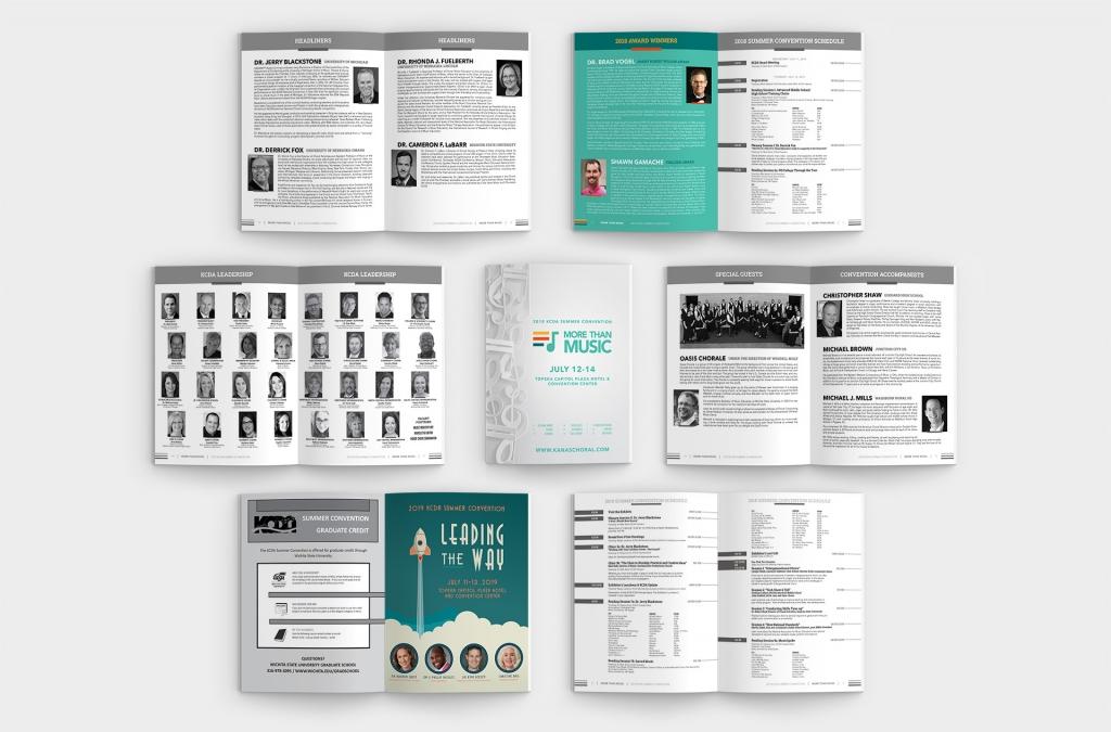 Kansas Choral Directors Assocation 2018 Convention Booklet Custom Graphic Design