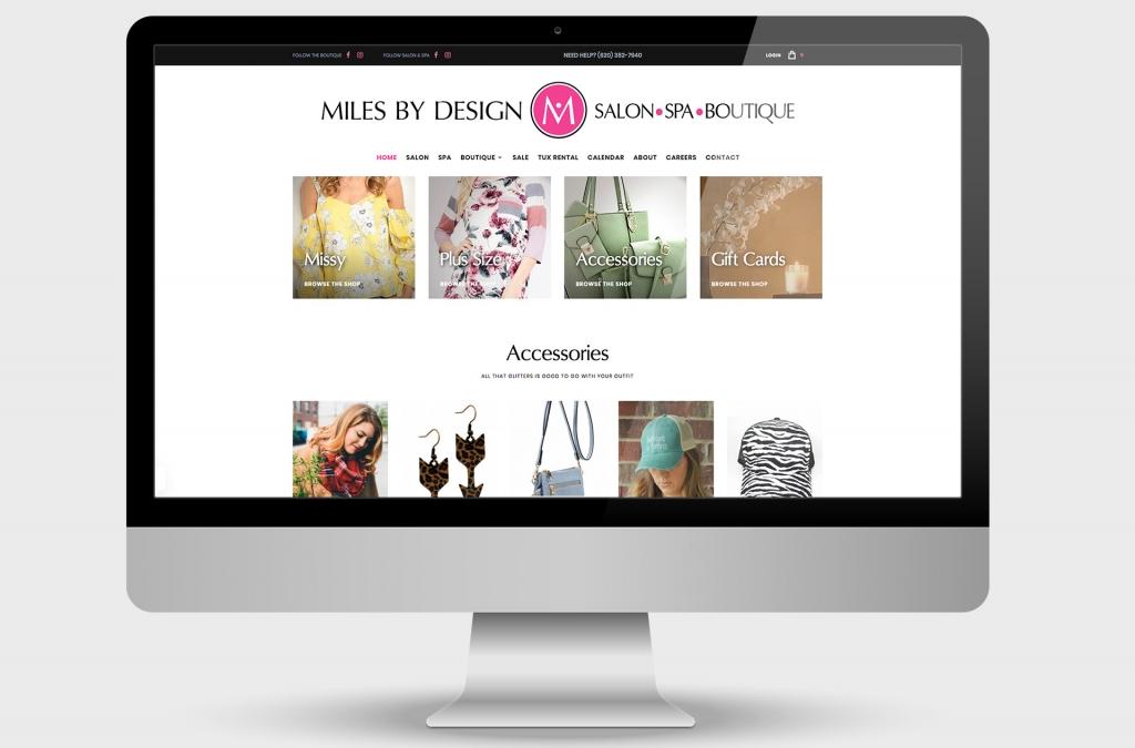 Miles by Design Salon Spa Boutique Custom Website Design